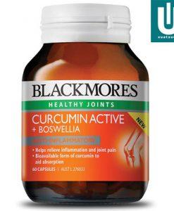 Thuốc bổ xương khớp Blackmores Curcumin Active + Boswelliacó chứa LongVida®, một loại curcumin sinh học (thành phần hoạt tính trong nghệ) để hỗ trợ sự hấp thụ và boswellia (cao khô nhũ hương) một chất chống viêm thực vật. Nó có thể giúp làm giảm viêm, giảm đau khớp và đau khớp với viêm khớp mãn. Có thể dùng mỗi ngày và kết hợp với glucosamine và chondroitin.