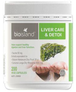 Viên uống giải độc gan Bio Island Liver Care & Detox 200 Vege Capsules