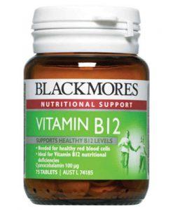Thuốc tăng cường năng lượng Blackmores Vitamin B12 (Cyanocobalamin) 100mcg 75 Viên