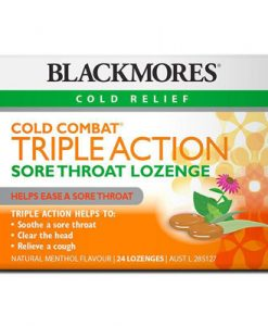 Thuốc trị viêm họng Blackmores Cold Combat Triple Action Sore Throat Lozenge 24 Pack