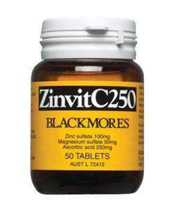 Viên uống bổ sung Kẽm Zinc Blackmores ZinvitC250 50 Viên là thuốc bổ sung kẽm, magiê và vitamin C